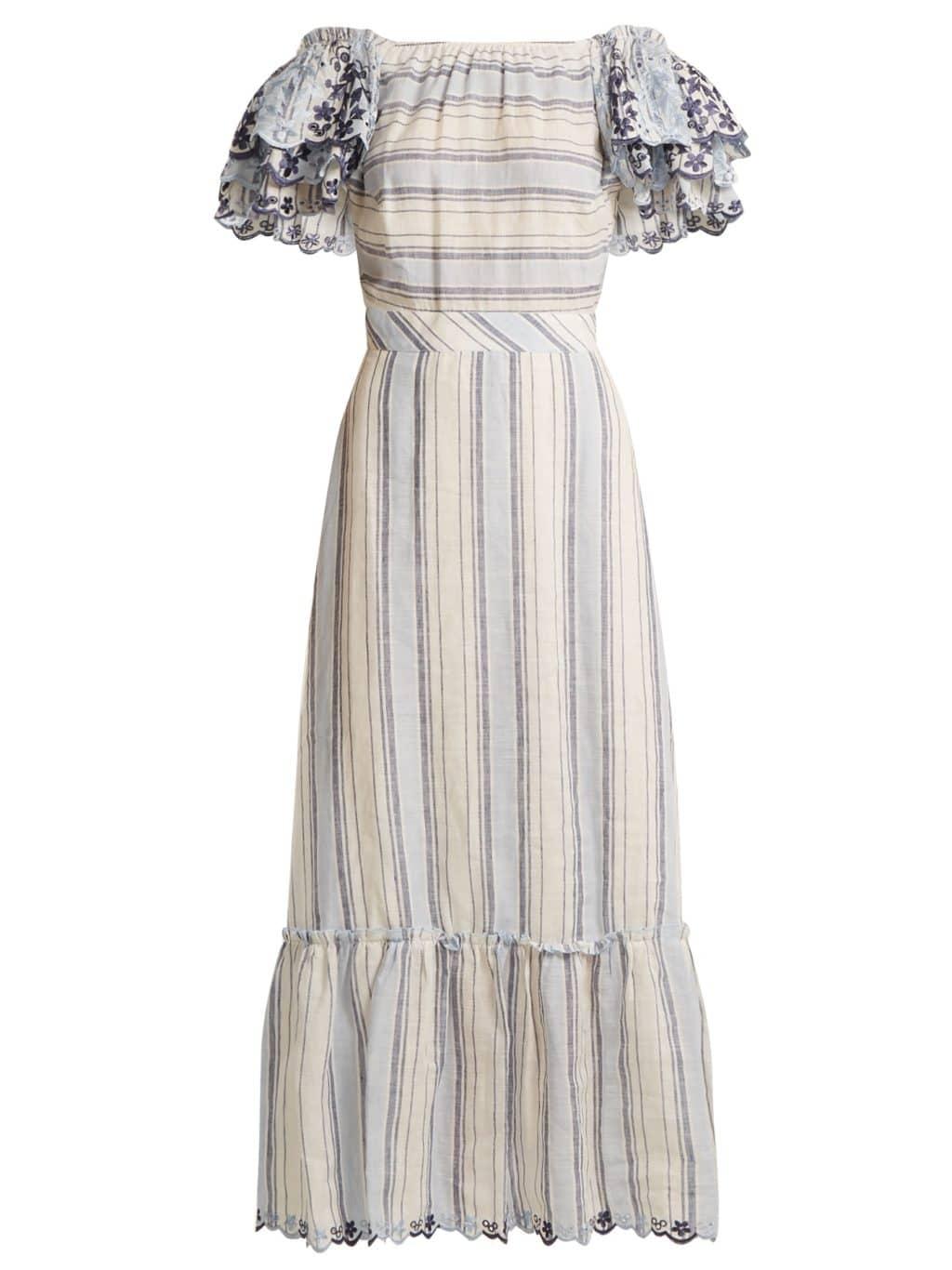 GÜL HÜRGEL Ruffled-sleeve Striped Linen Tonal Blue / White Dress