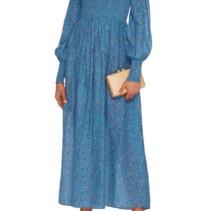 49ea9aeb GANNI Beacon Smocked Cotton And Silk-Blend Maxi Blue Dress - We ...