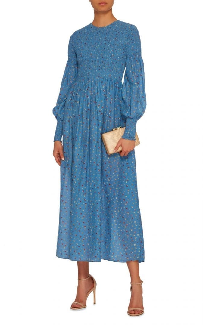 0d51f4397fc GANNI Beacon Smocked Cotton And Silk-Blend Maxi Blue Dress - We ...