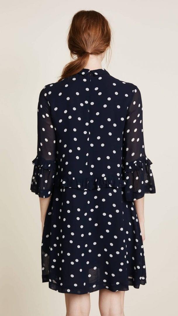 9078219d GANNI Marceau Georgette Collared Total Eclipse Navy Blue Dress - We ...