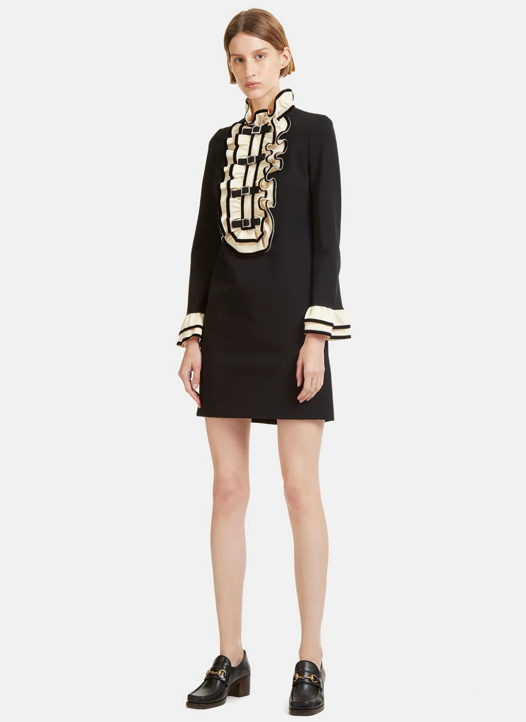 GUCCI Crystal Buckled Ruffle Black Dress