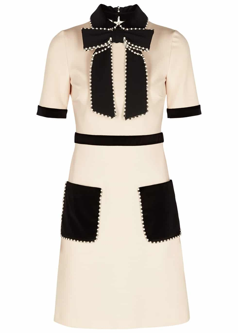 GUCCI Ecru Embellished Stretch Knit Beige Dress