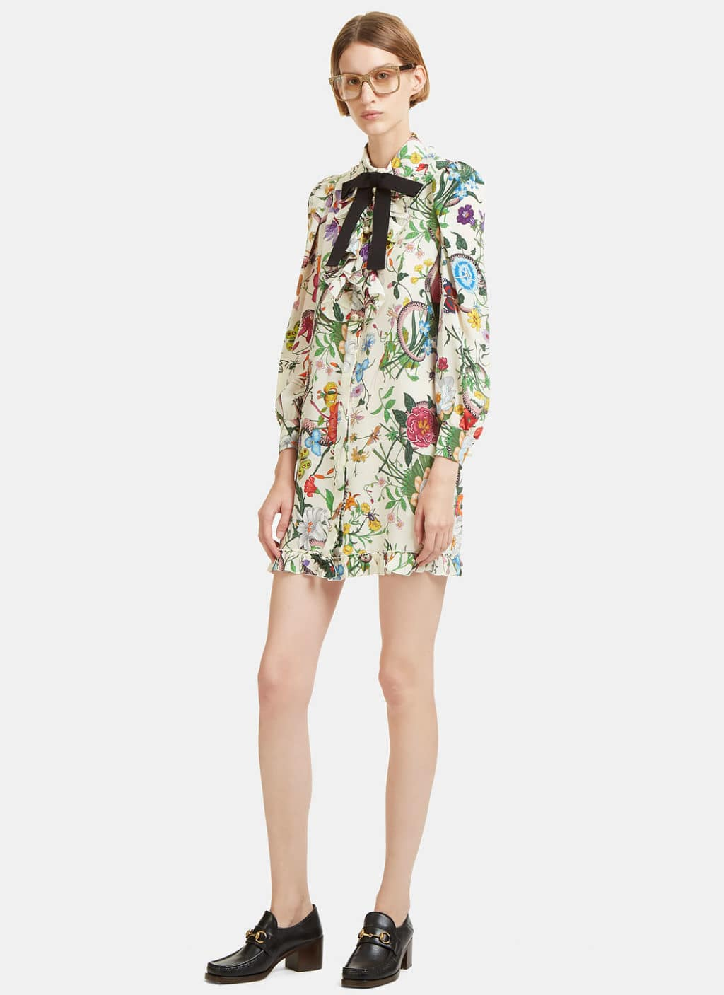 GUCCI Flora Snake Print Ruffled Shirt Ivory Dress