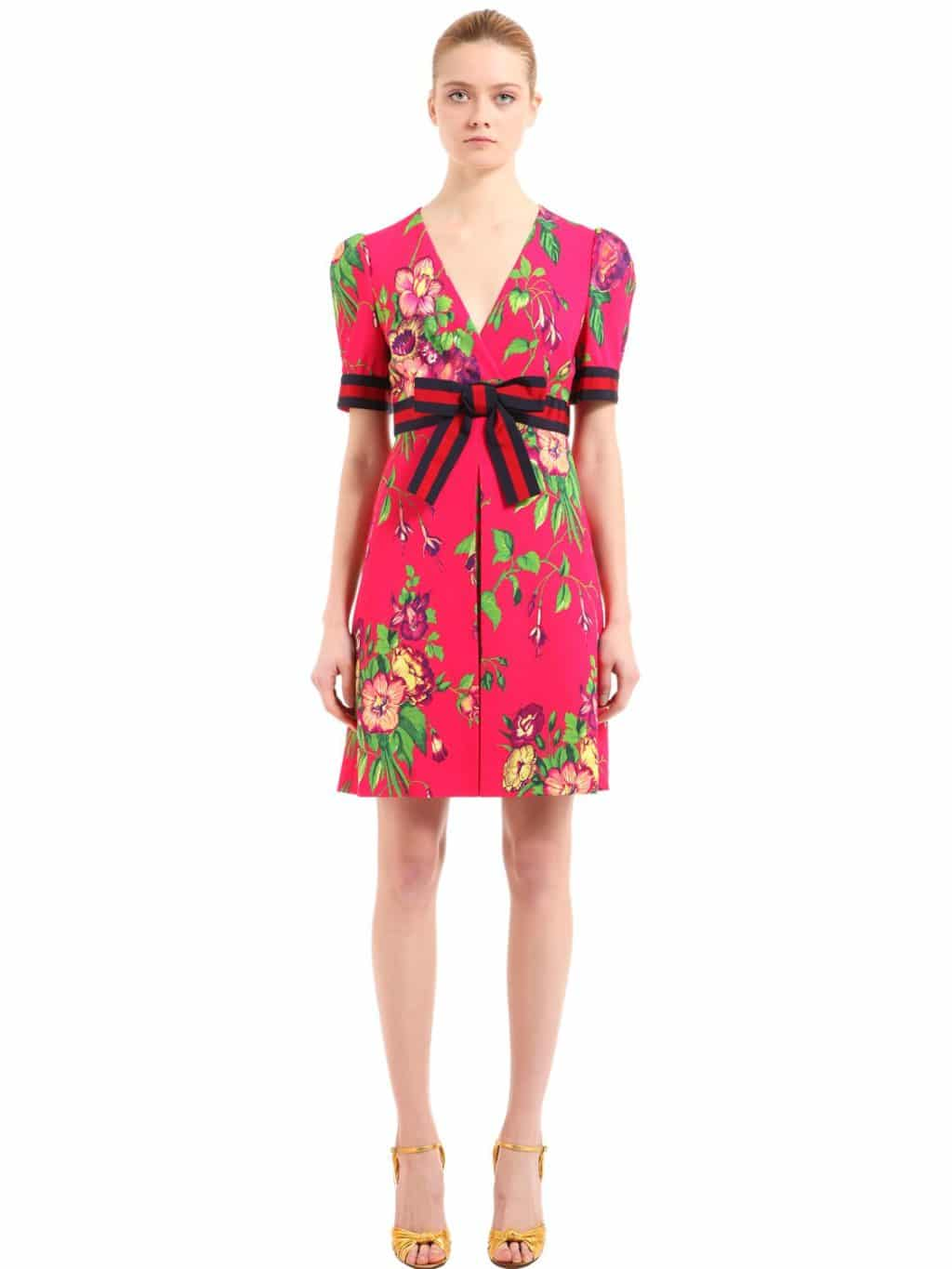 736d024eb GUCCI Stretch Jersey Fuchsia / Floral Printed Dress - We Select Dresses