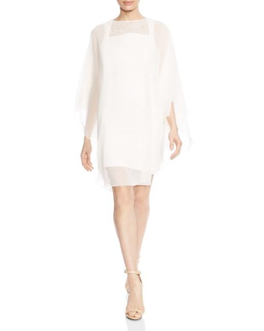 HALSTON HERITAGE Embroidered Sheer Overlay Cream Dress