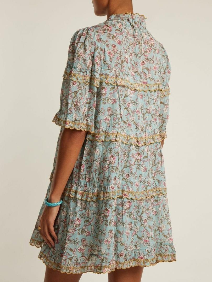 Isabel Marant étoile Maiwenn Ruffle Trimmed Cotton Sea Blue Floral Printed Dress