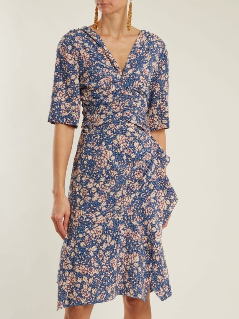 9676e7c175 ISABEL MARANT Brodie Zip-through Navy / Floral Printed Dress - We ...
