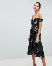 JARLO All Over Cutwork Lace Bardot Ruffle Hem Midi Prom Black Dress