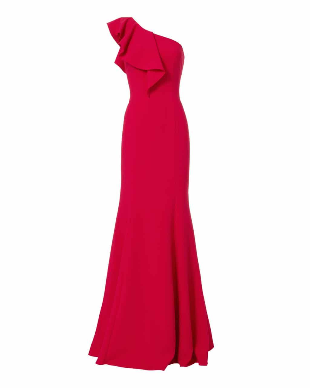 JAY GODFREY Osgood One Shoulder Poppy Red Gown