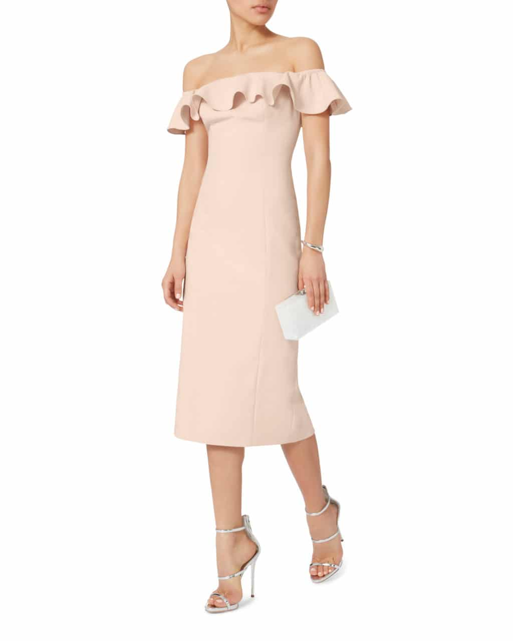 3254b3c013c2 JAY GODFREY Rollins Off Shoulder Midi Blush   Nude Dress - We Select ...