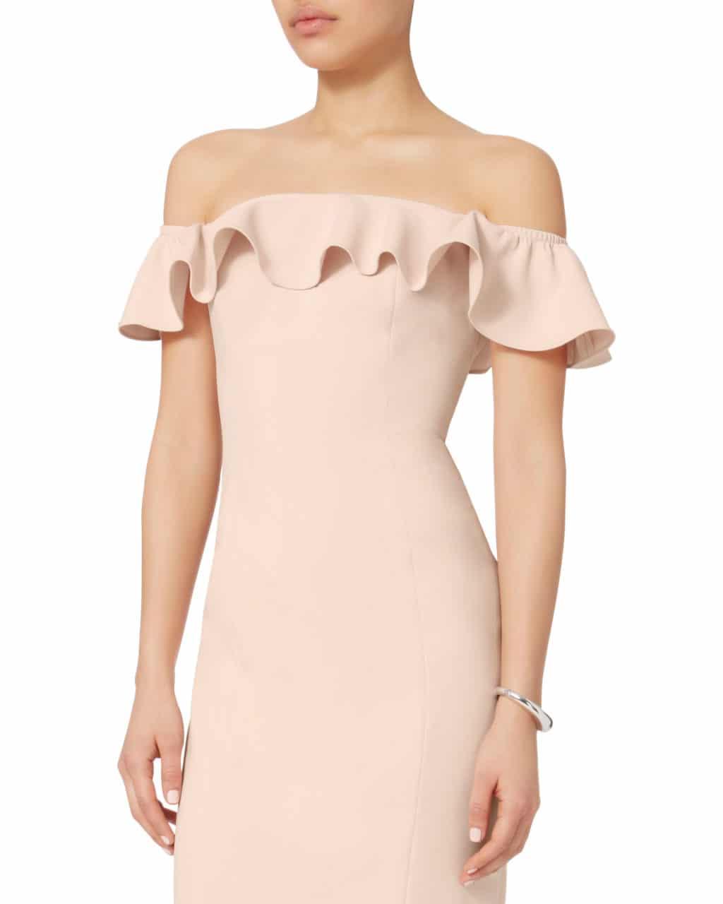 cd188328a421a JAY GODFREY Rollins Off Shoulder Midi Blush / Nude Dress - We Select ...