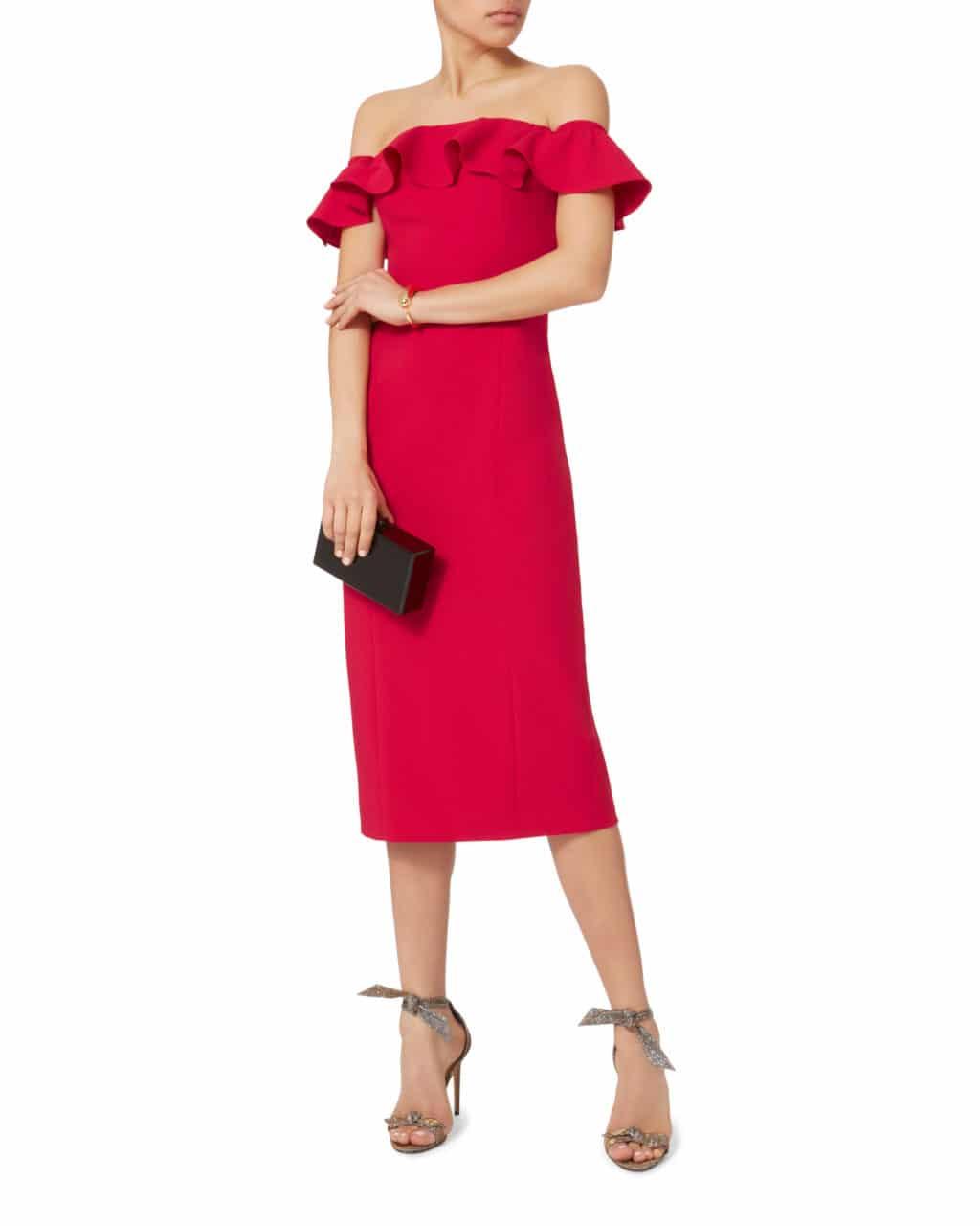 JAY GODFREY Rollins Ruffle Red Dress