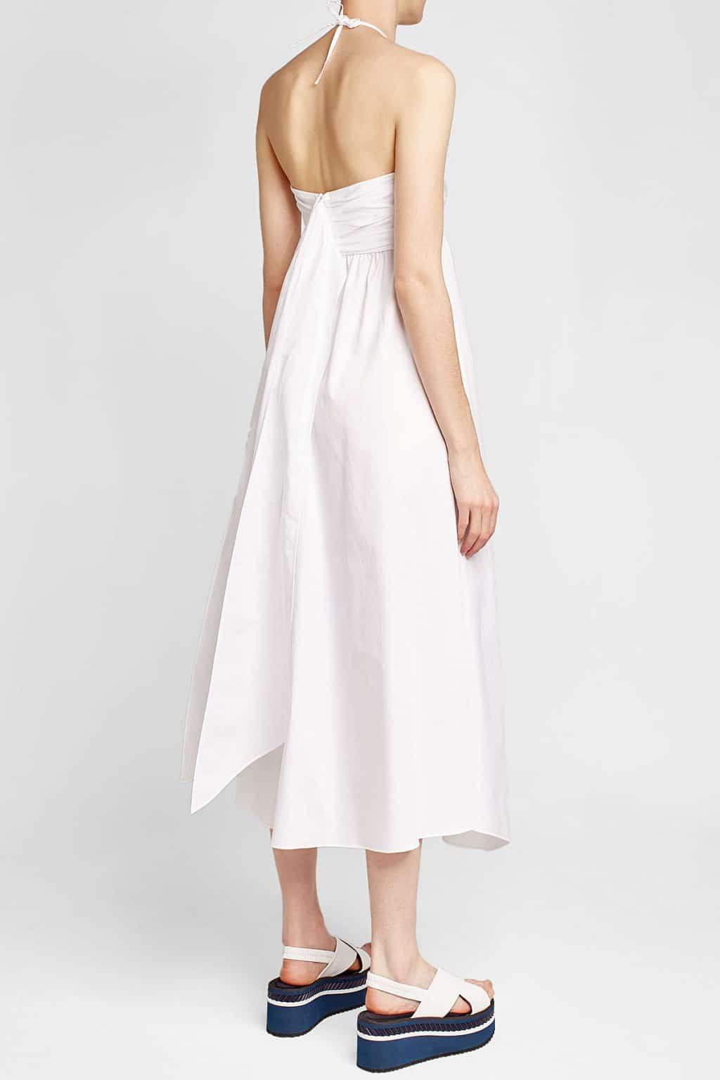 Jil Sander Navy Cotton Halter White Dress