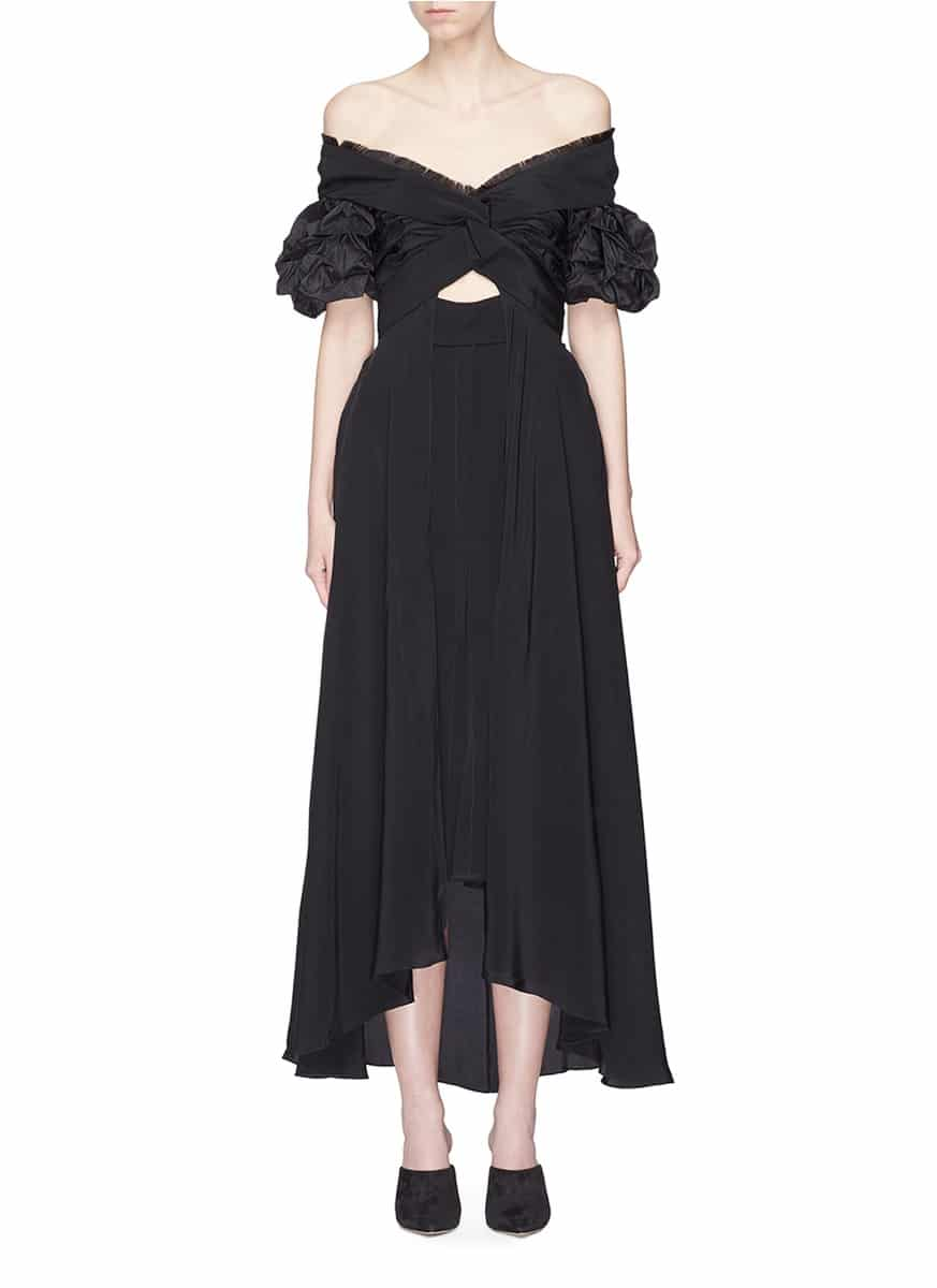 JOHANNA ORTIZ 'Maria Felix' Cutout Twist Front Off-shoulder Black Dress