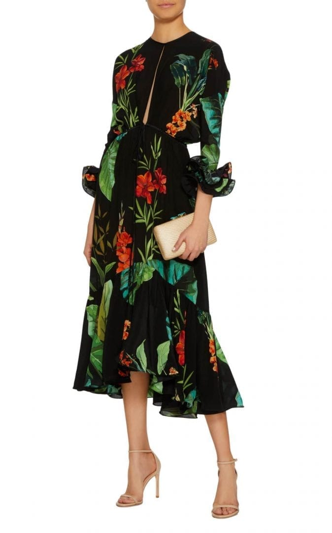 JOHANNA ORTIZ Nambia Silk Crepe Black / FloralPrinted Dress