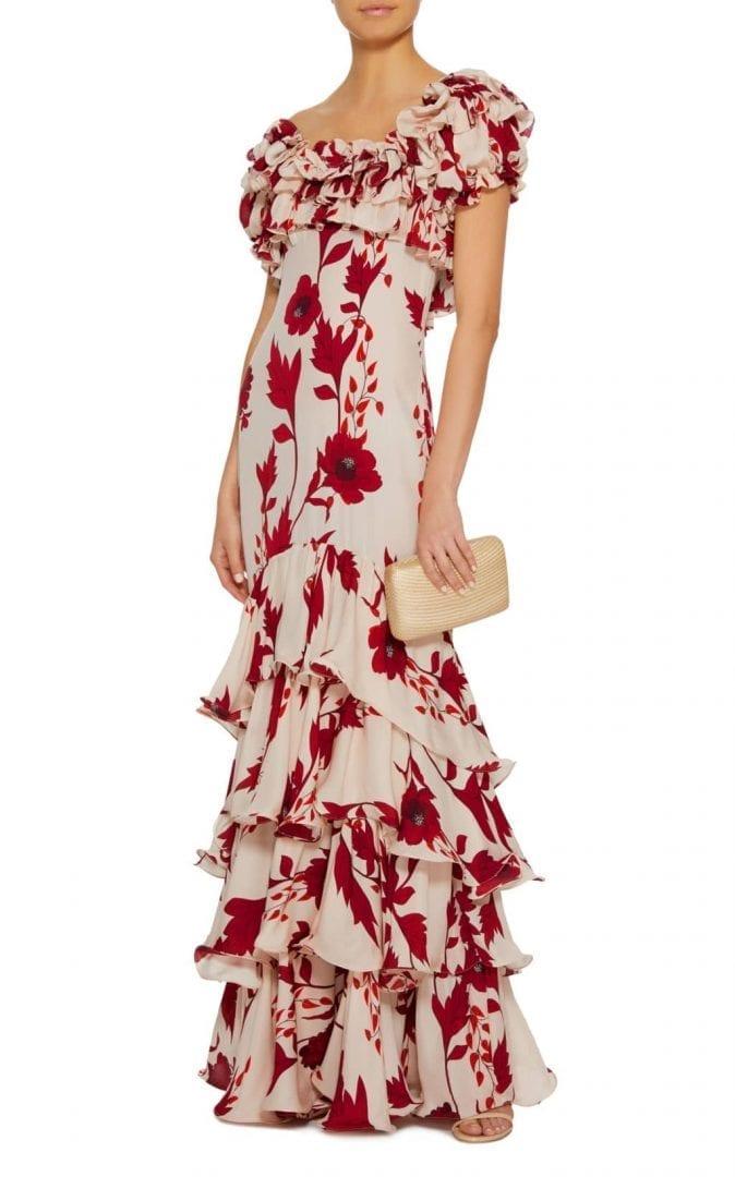 JOHANNA ORTIZ Victoria Falls Silk Crepe Beige / Floralprinted Dress