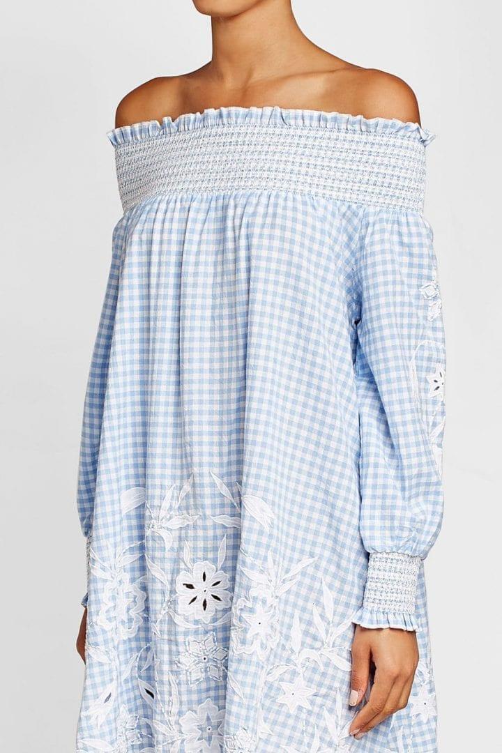 4978a9e468 JULIET DUNN Cut-Out Detail Embroidered Blue Dress - We Select Dresses