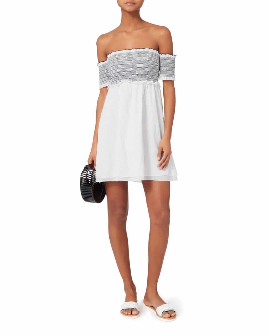 80e9f0ee1b12 KISUII Aya Smocked Off Shoulder Mini White Dress - We Select Dresses