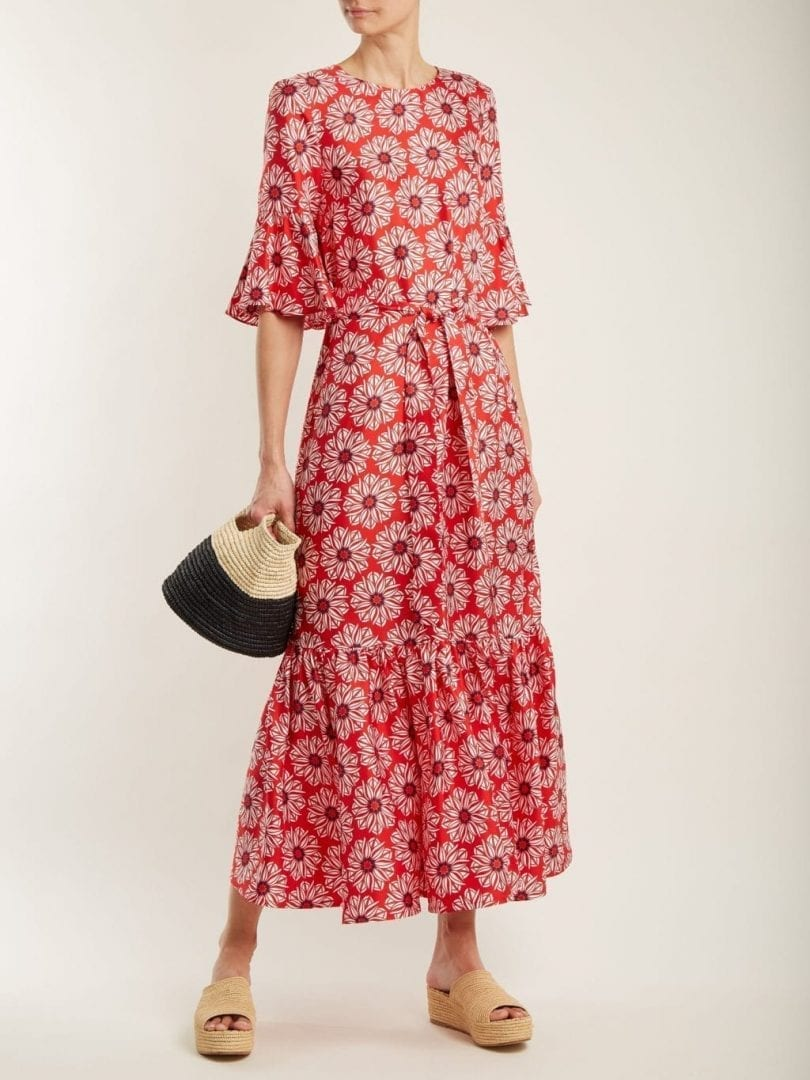 LA DOUBLEJ EDITIONS Curly Swing Floral-print Silk Maxi Red Dress