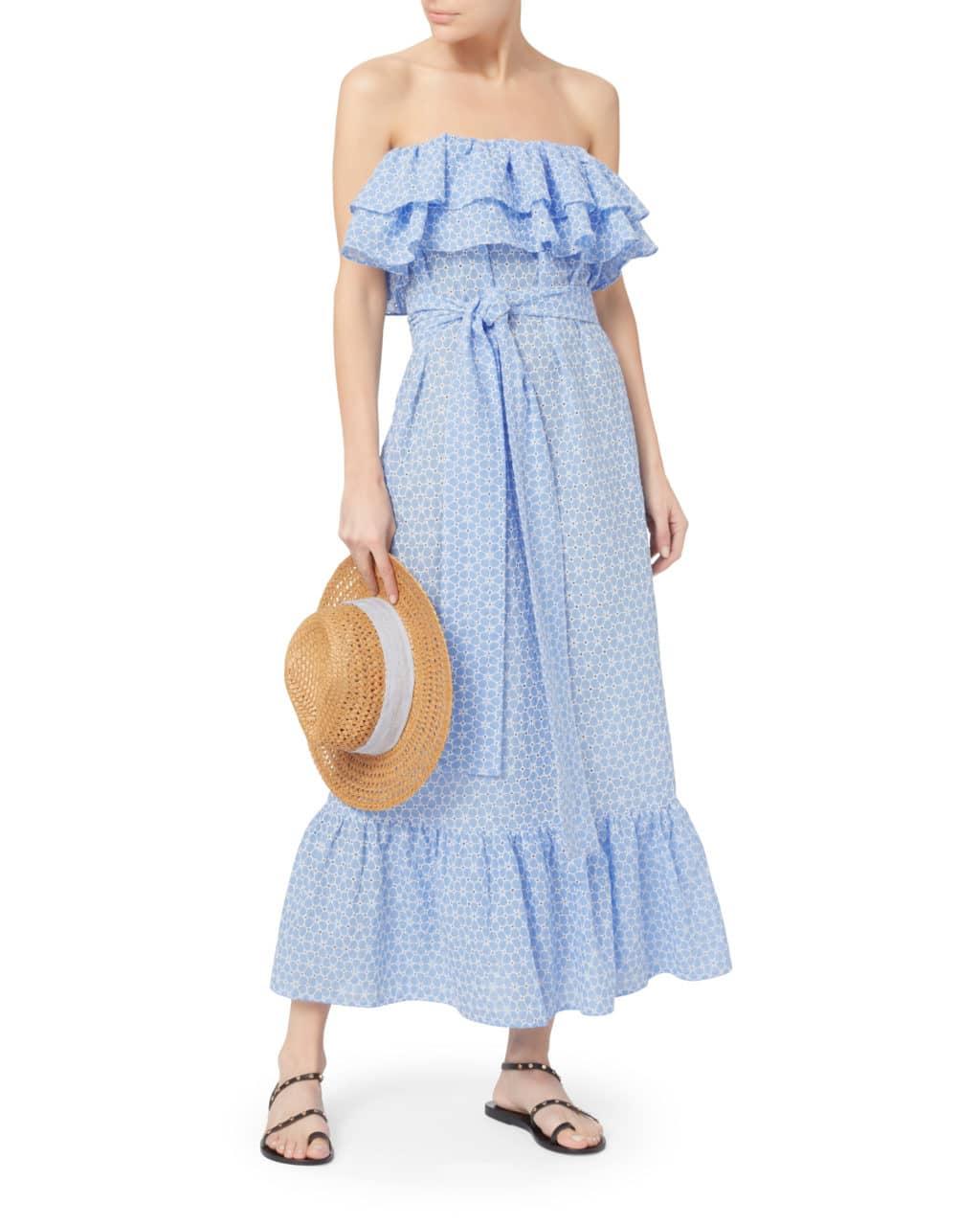 LISA MARIE FERNANDEZ Sabine Strapless Ruffle Blue Dress