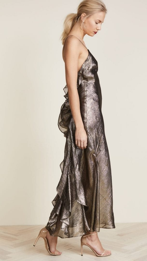LOVESHACKFANCY Ruffle Slip Gold Dress - We Select Dresses