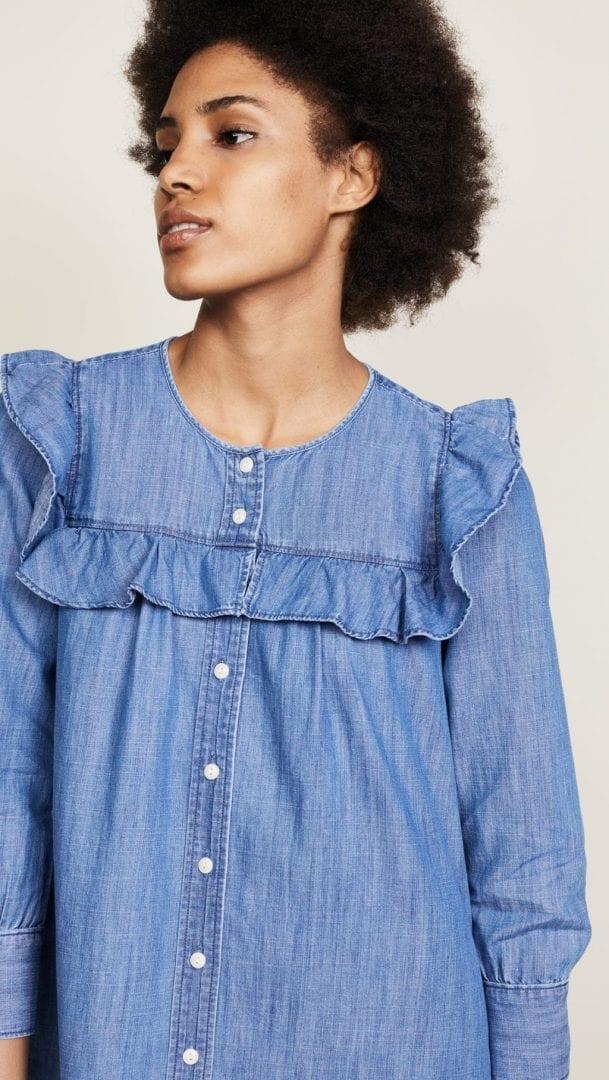 626fd0b2c8 MADEWELL Ruffle Sleeve Denim Shirt Blue Dress - We Select Dresses