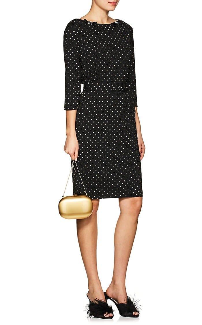 MARC JACOBS Bow-Appliquéd Glitter-Dot Crepe Black Dress