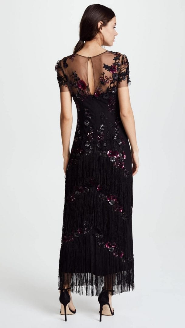 1d405fdd56f MARCHESA NOTTE Short Sleeve Embroidered Fringe Tiered Black Gown ...
