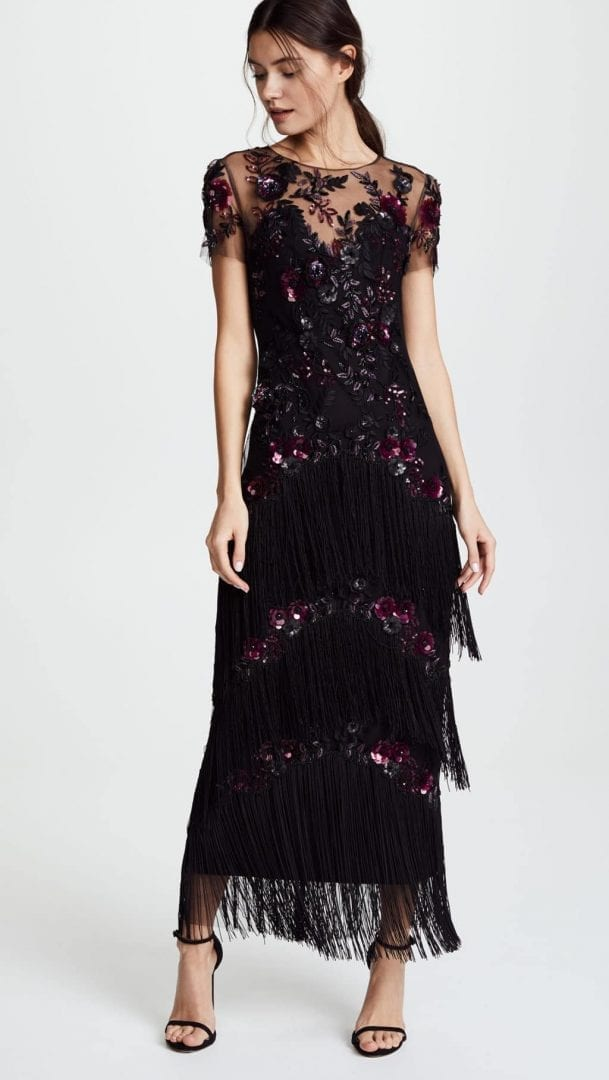 MARCHESA NOTTE Short Sleeve Embroidered Fringe Tiered Black Gown ...