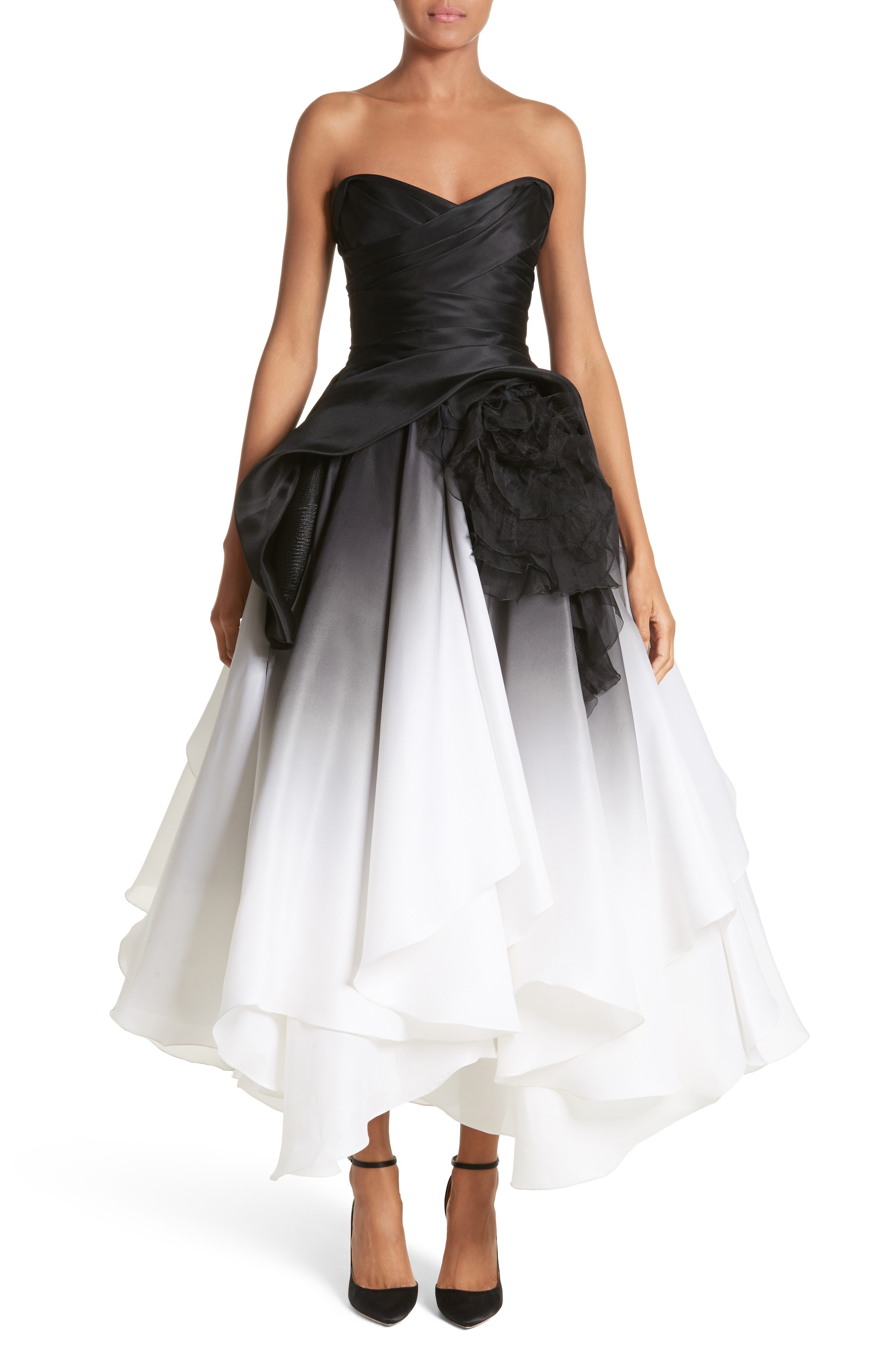 Marchesa Ombré Strapless Tea Length Black White Dress