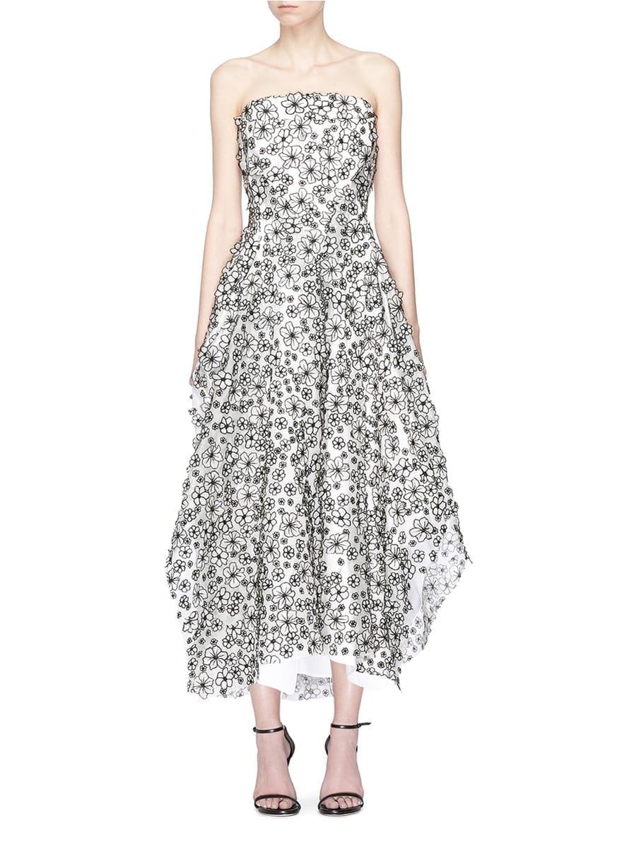 MATICEVSKI 'Inner Quality' Floral Appliqué Silk Organza White Gown