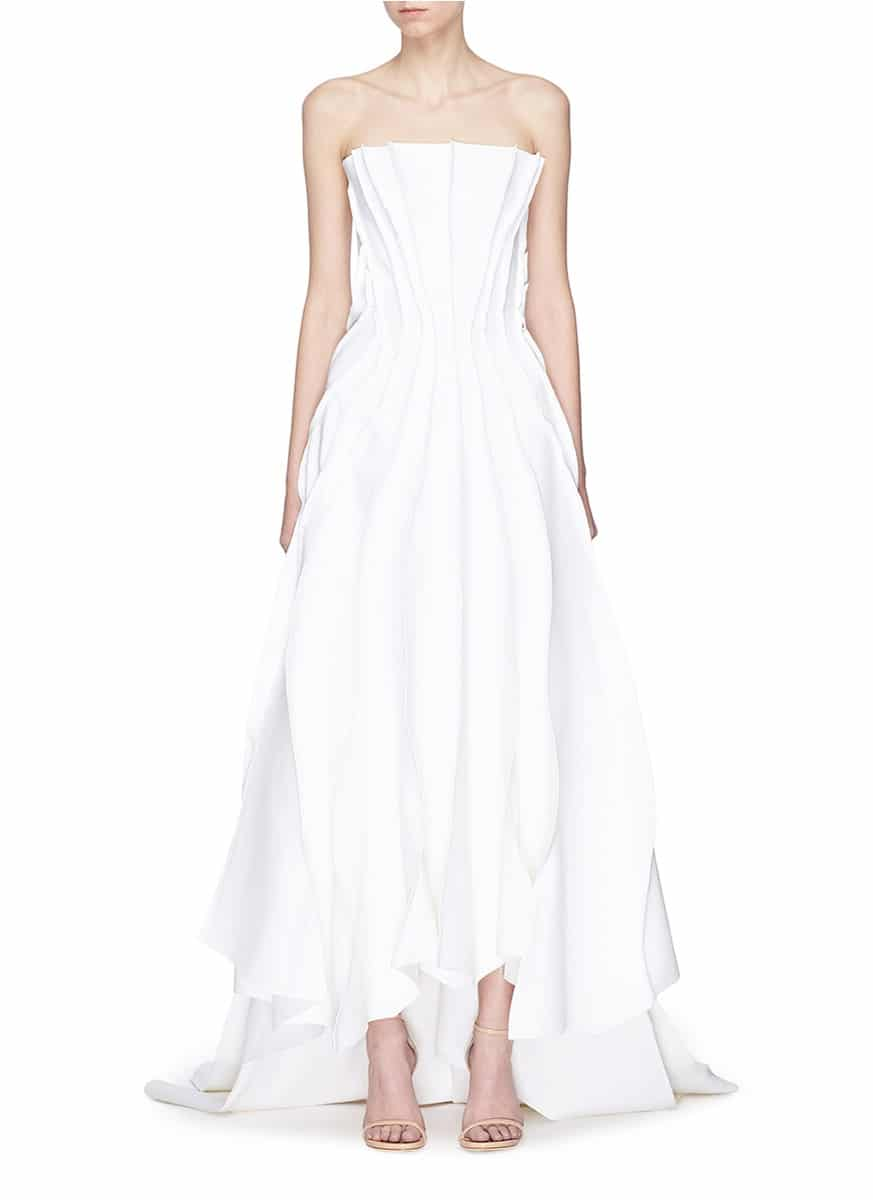 MATICEVSKI 'The Presenting' Raw Edge Panel White Gown