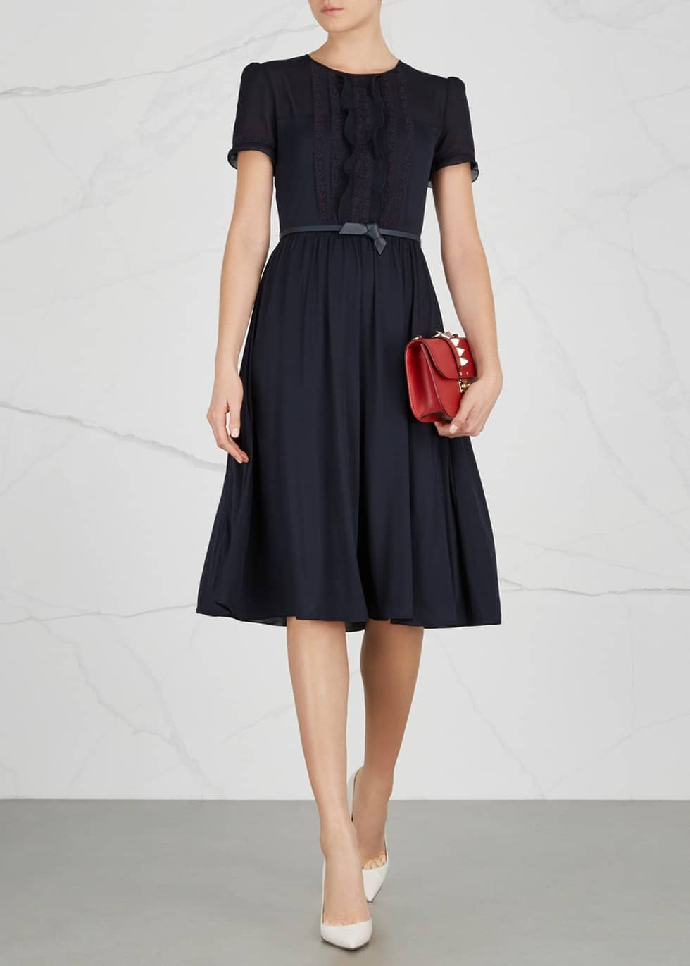 71f275bace MAX MARA STUDIO Picador Belted Jersey Navy Dress - We Select Dresses