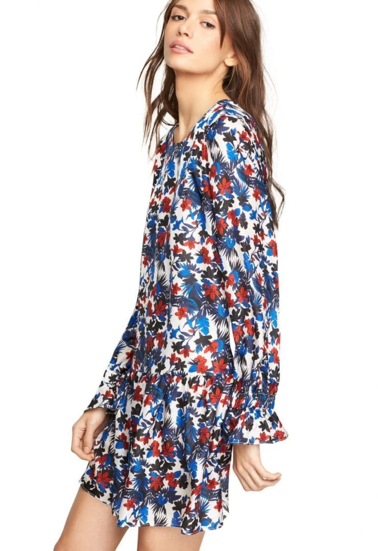 MILLY Hibiscus Print Silk Quinn Blue / Multicolored Dress - We ...