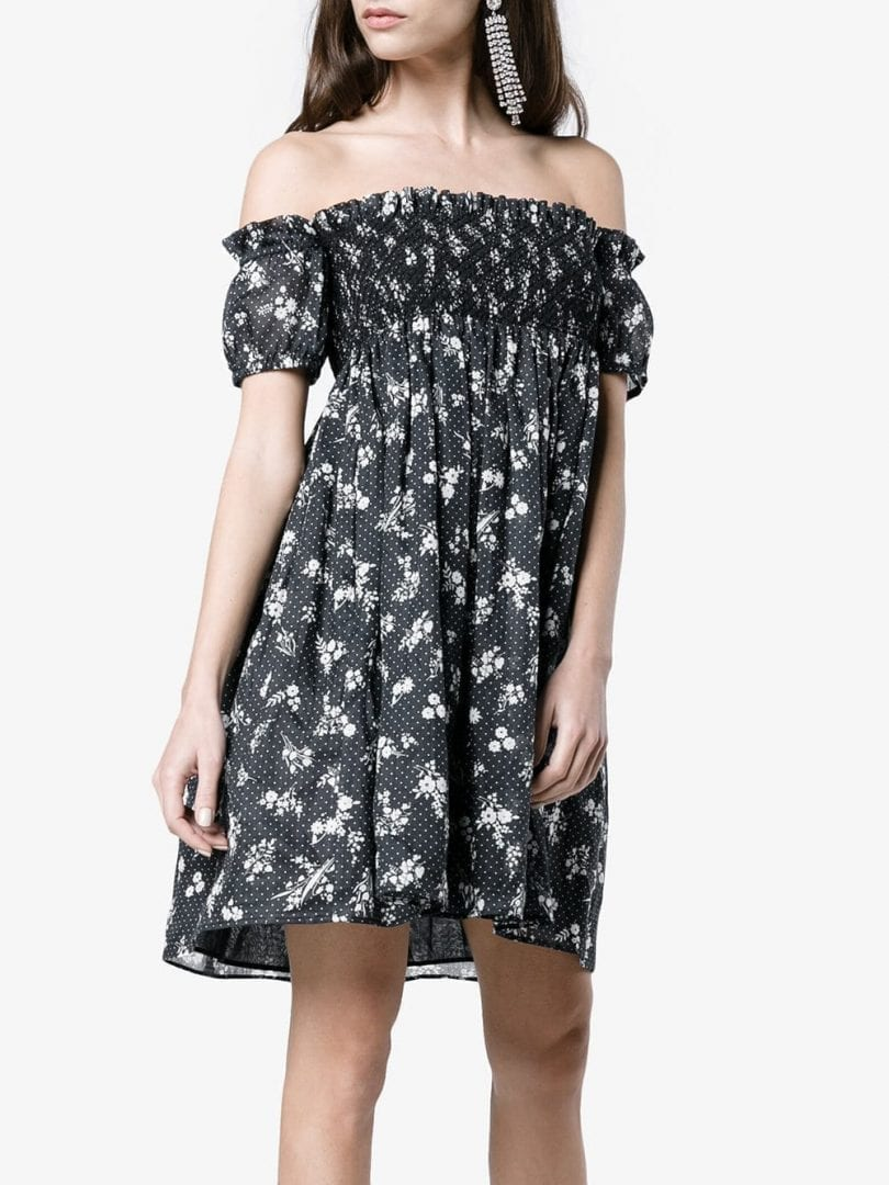 17ed71f93c9b MIU MIU Shirred Bardot Blue   White Floral Printed Dress - We Select ...