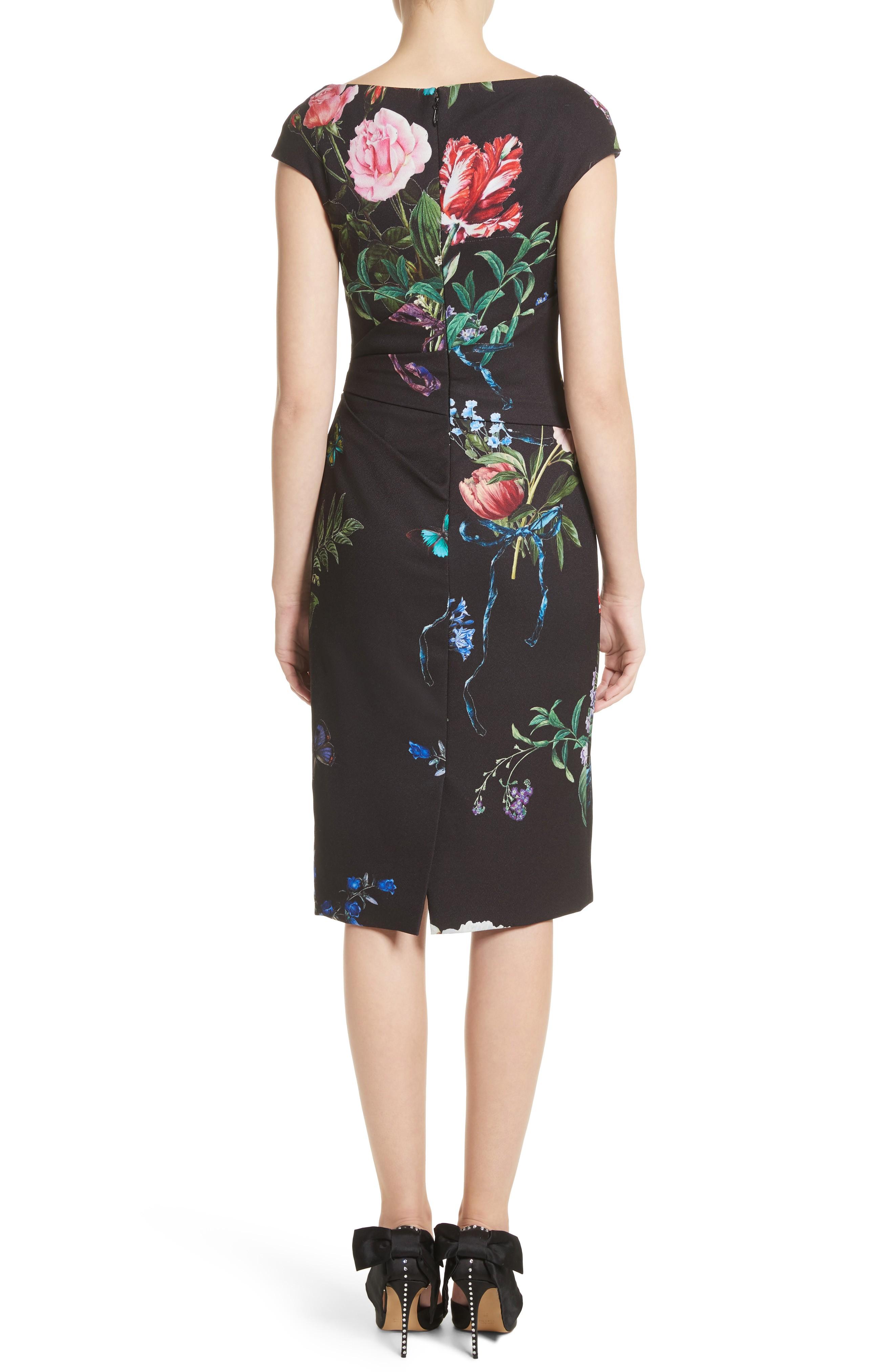 MONIQUE LHUILLIER Botanical Print Draped Sheath Noir / Multi Dress ...