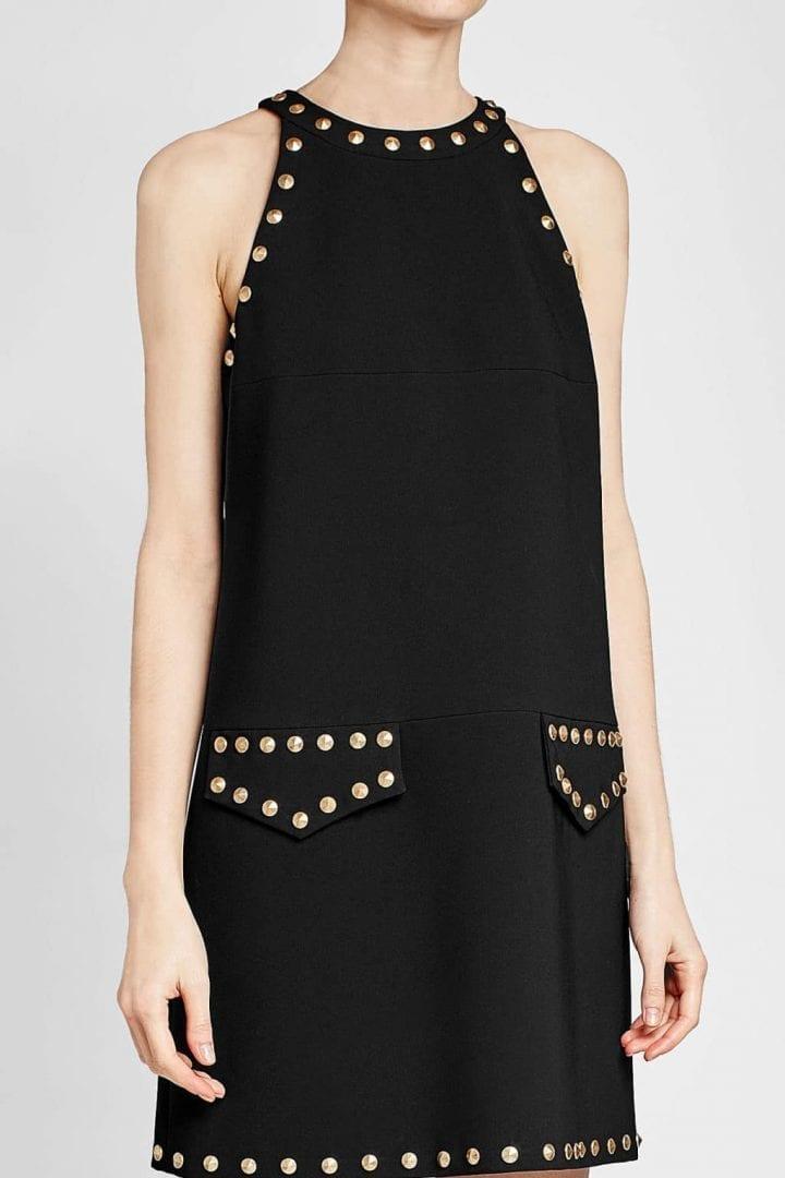 Moschino Stud Embellished Mini Black Dress