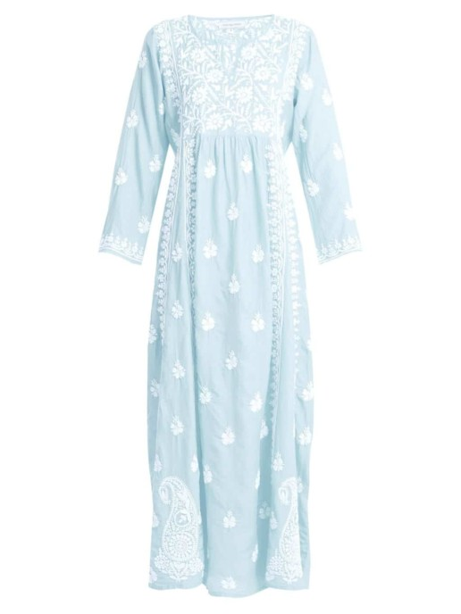 MUZUNGU SISTERS Floral Embroidered Silk Light Blue Dress