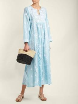 MUZUNGU SISTERS Floral Embroidered Silk Light Blue Dress