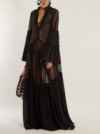 MY BEACHY SIDE Penny Lane Geometric Lace Maxi Black Dress