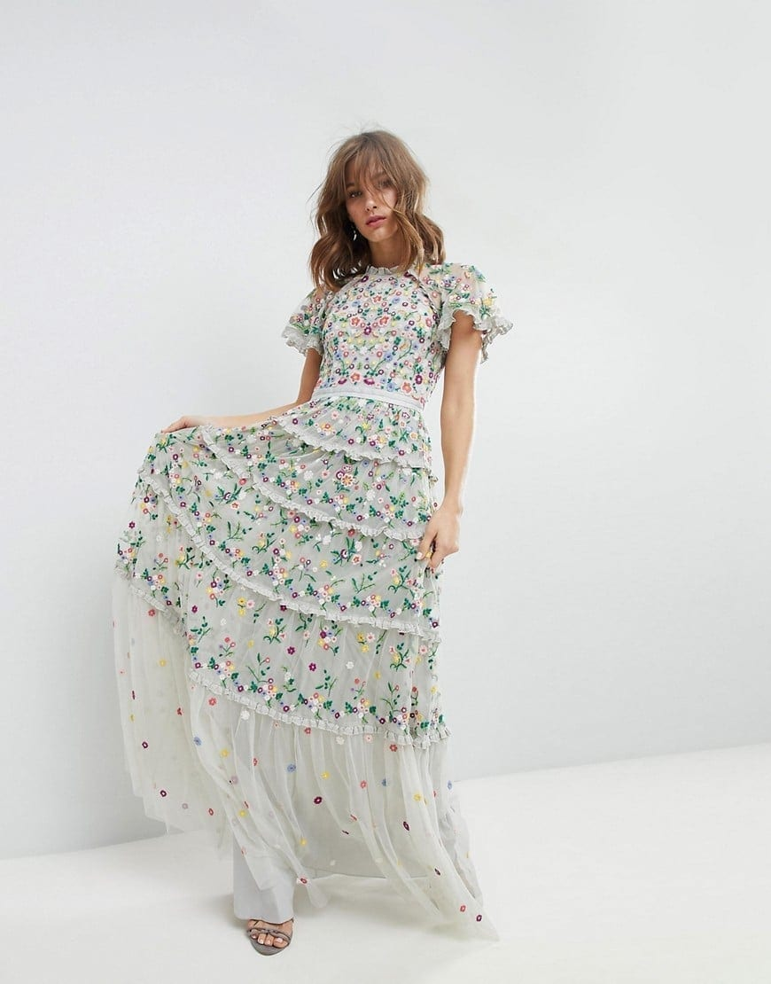 NEEDLE & THREAD High Neck and Tiered Skirt Embroidered Bleached Blue ...