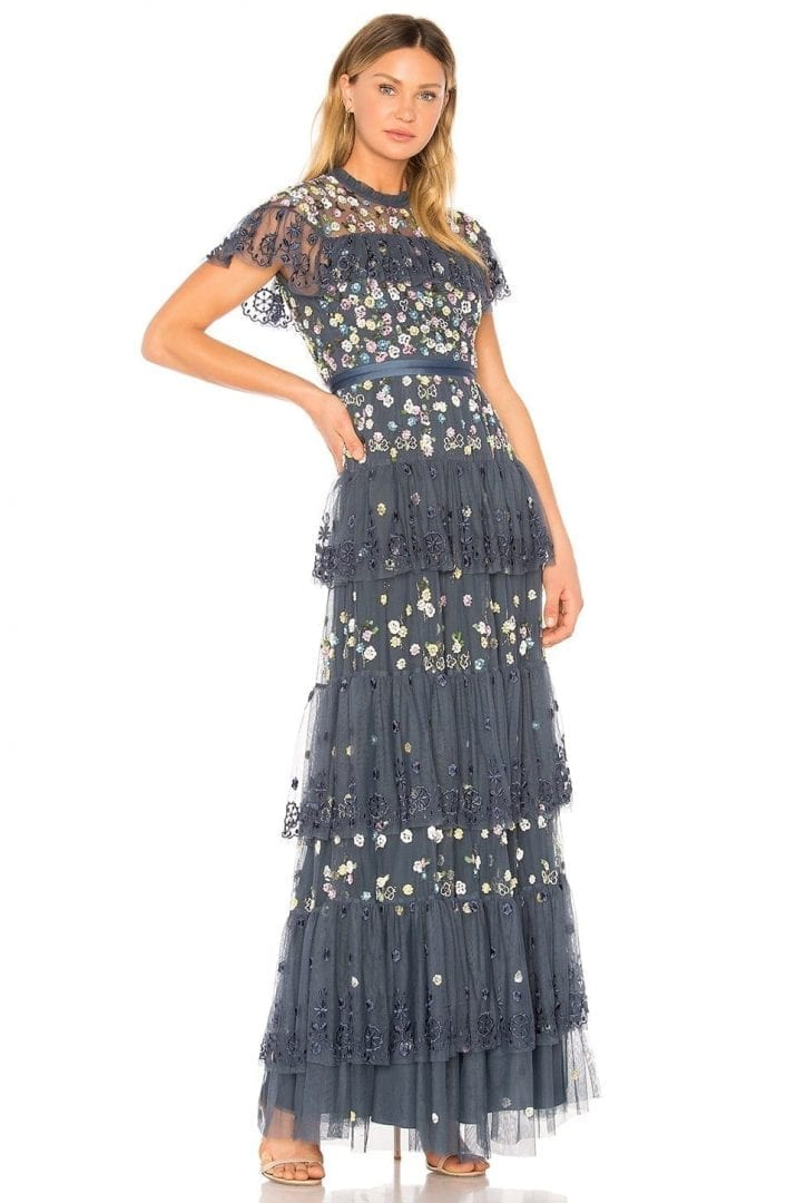 NEEDLE & THREAD Tiered Anglais Indigo Blue Gown - We Select Dresses