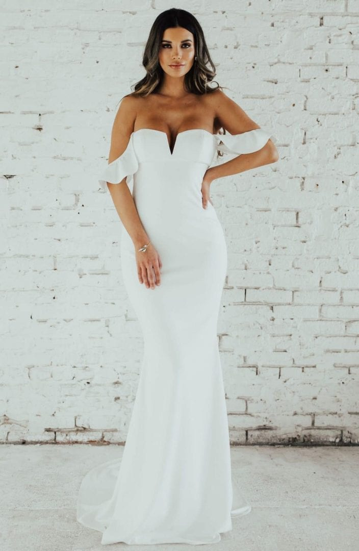 NOEL AND JEAN Ruffled Off the Shoulder Crepe Mermaid Ivory Gown