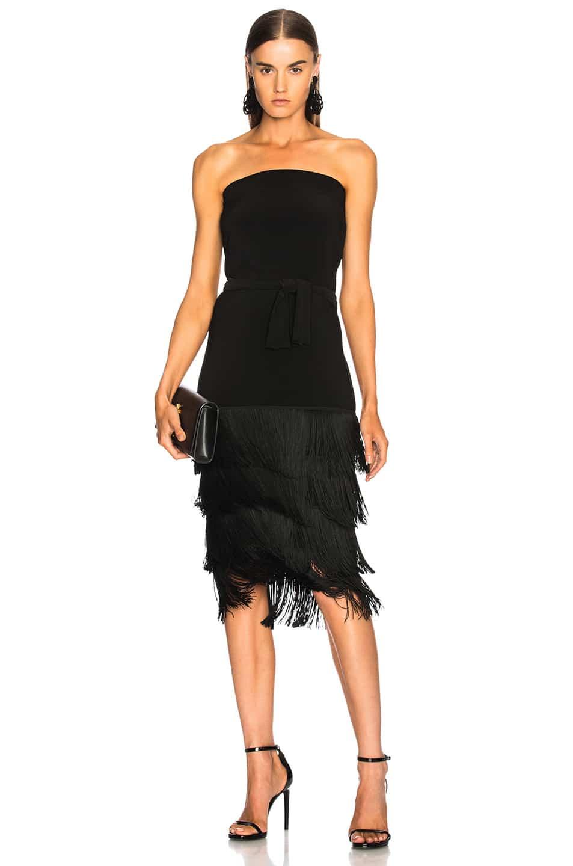 NORMA KAMALI Fringe All In One Black Dress