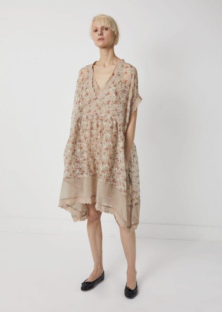 PÉRO Linen Silk Print Beige Dress