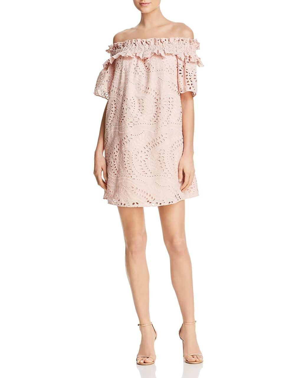 PARKER Cable Off-the-Shoulder Eyelet Pearl Blush Dress