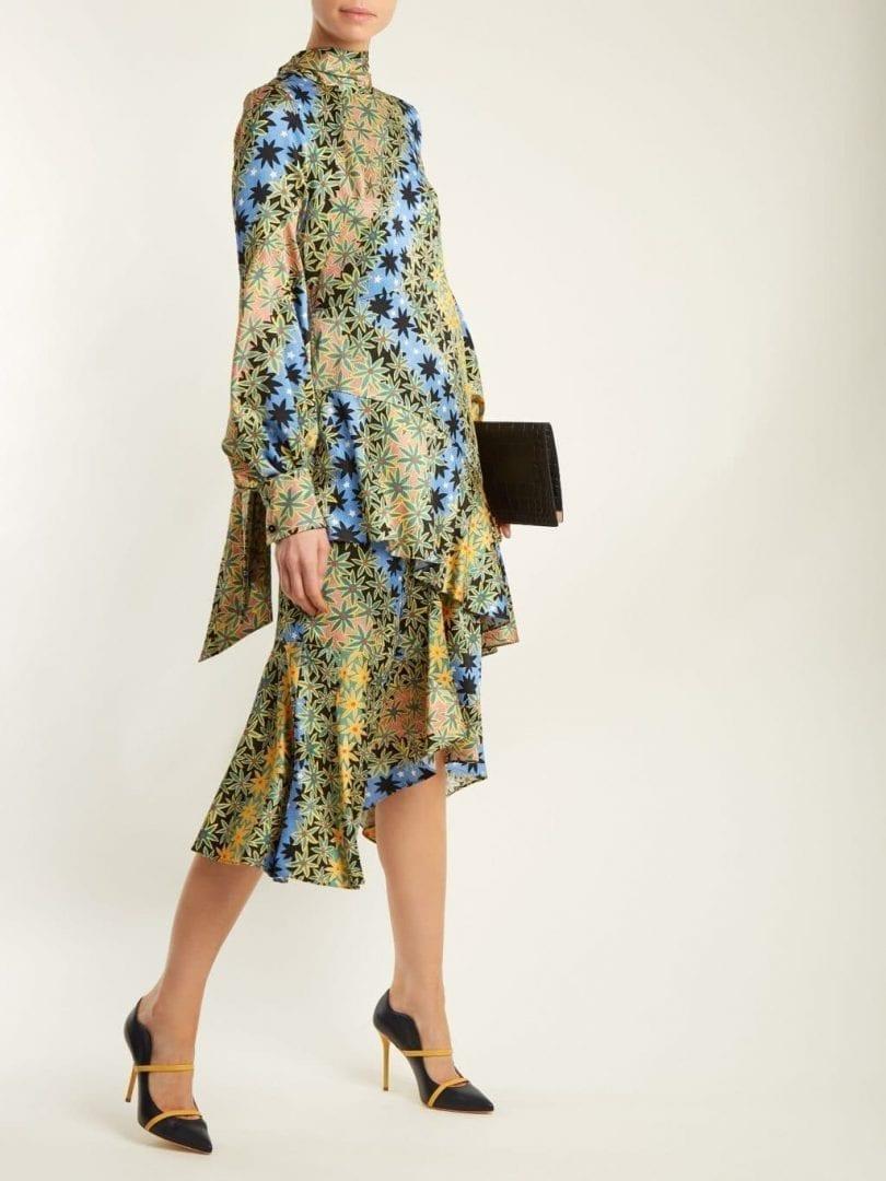 ee447f59141 PETER PILOTTO High Neck Silk Tonal Green   Blue Floralprinted Dress