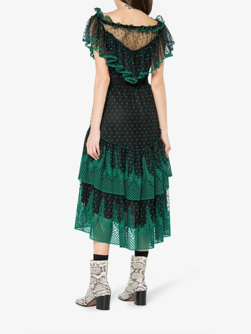 42bc500915a7 PHILOSOPHY DI LORENZO SERAFINI Lace Off The Shoulder Black   Green Dress