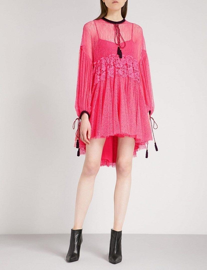 PHILOSOPHY DI LORENZO SERAFINI Tassel-detail Lace Pink Dress