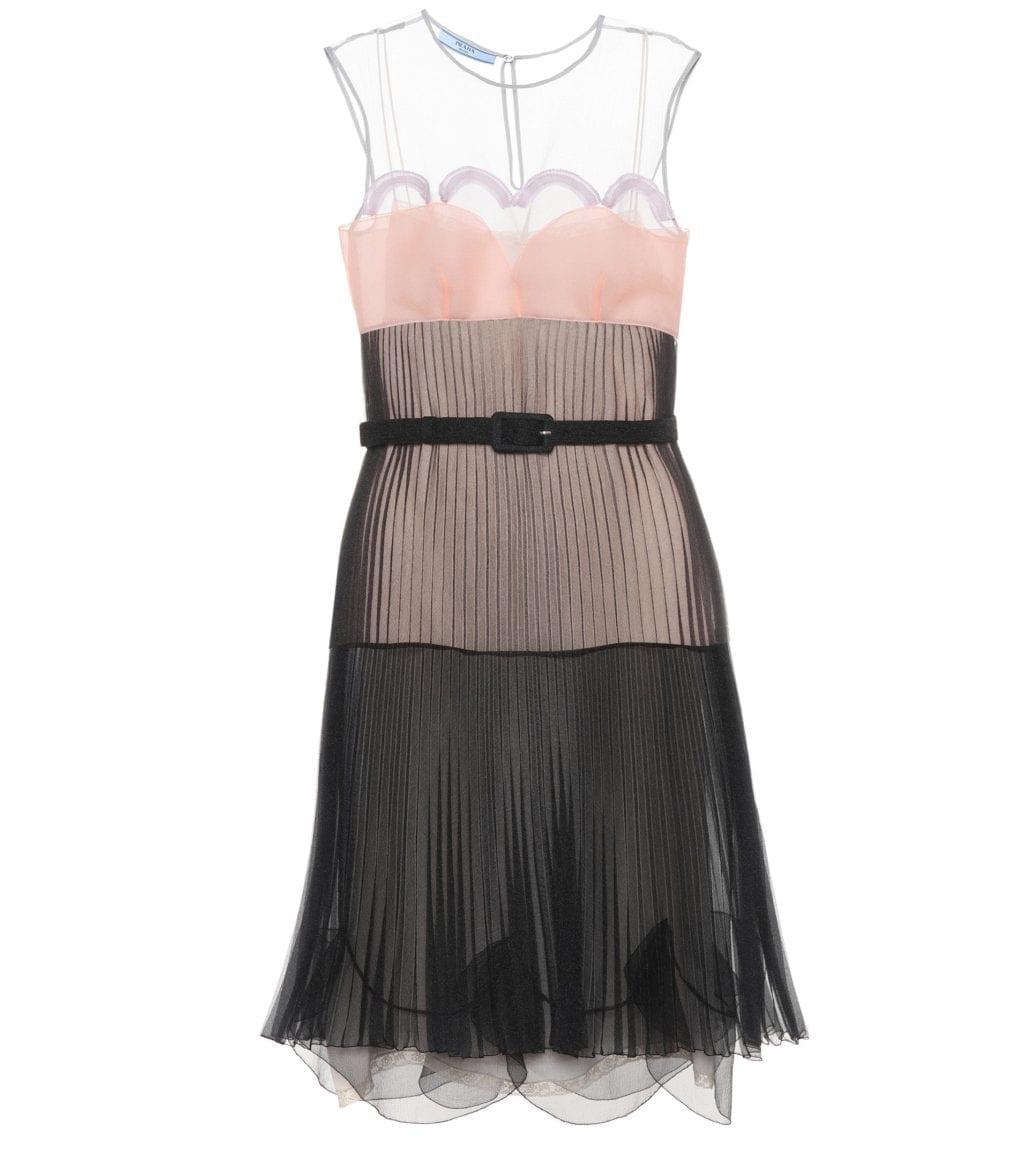 PRADA Pleated Cigaline Black / Pink Dress